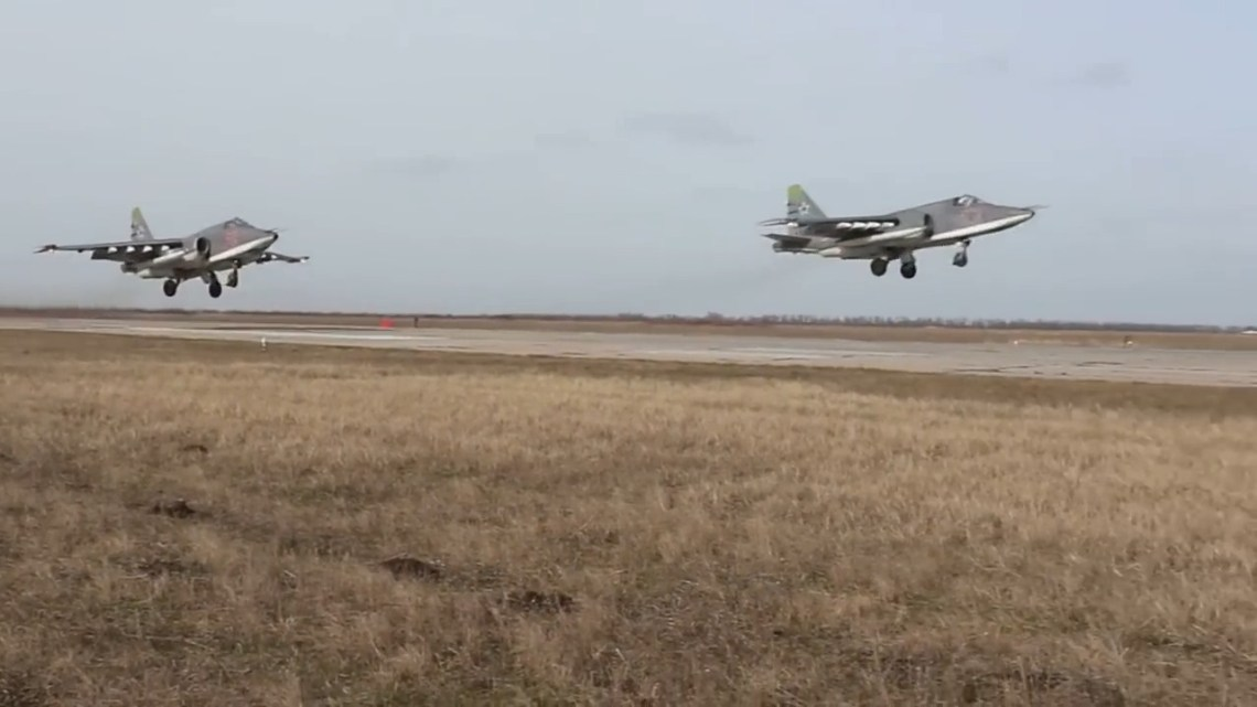 Russian Southern Military District Su-25SM Grach Destroys Surface Targets