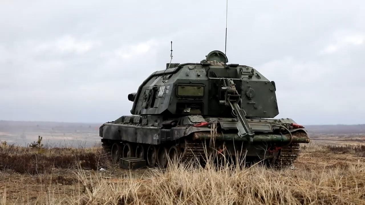 Russia's Western Military District Fire Msta-S Artillery Guns