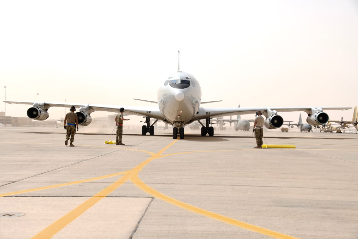U.S. Air Force crew chiefs assigned to the 379th Expeditionary Maintenance Squadron, taxi an E-8C Joint Surveillance Target Attack Radar System (JSTARS) on the Prince Sultan Air Base, Kingdom of Saudi Arabia, March 8, 2020.