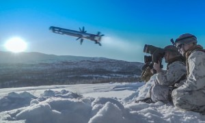 A U.S. Marine with Combined Anti-Armor Team 1, Weapons Company, 2nd Battalion, 6th Marine Regiment, 2nd Marine Division, II Marine Expeditionary Force, fires an M98A2 Javelin missile system during a live-fire exercise in preparation for Exercise Cold Response 20 near Setermoen, Norway, March 3, 2020.