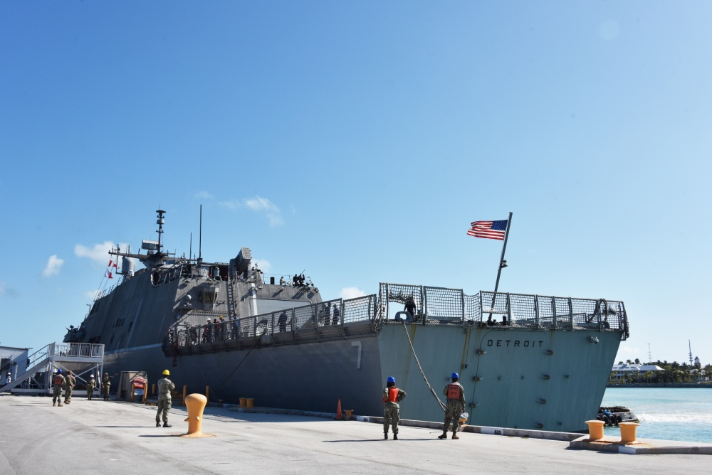 Freedom-class littoral combat ship USS Detroit (LCS 7) docks at Naval Air Station Key West's Truman Harbor during a port visit to conduct emergent repairs.