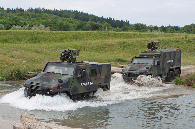 The GDELS EAGLE 4x4 and 6x6 family uses the same chassis and drive train components, offering unmatched payload/gross vehicle weight ratio and a flexible internal layout to support various mission roles.