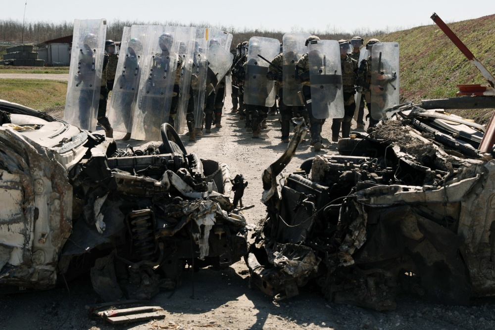 KFOR Freedom of Movement Detachment rehearses obstacle removal
