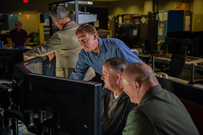Raytheon operators man GPS OCX Launch and Checkout System workstations at Schriever Air Force Base, Colorado. Raytheon's GPS OCX system is helping with the launch and checkout of the new navigation satellites.