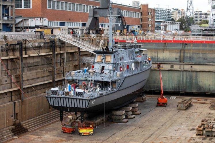 Royal Australian Navy HMAS Gascoyne Minehunter Undergoes Refit