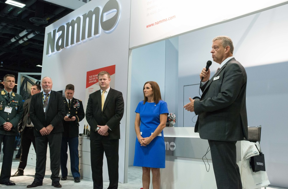 Announcement of Nammo's new investments in the United States, and the formation of Nammo Defense Systems, at the AUSA Trade Show in October 2019. Seen here (from the right) are Morten Brandtzæg, Arizona Sentator Martha McSally, US Secretary of the Army, Ryan McCarthy, and Norwegian National Armaments Director, Mr. Morten Tiller.