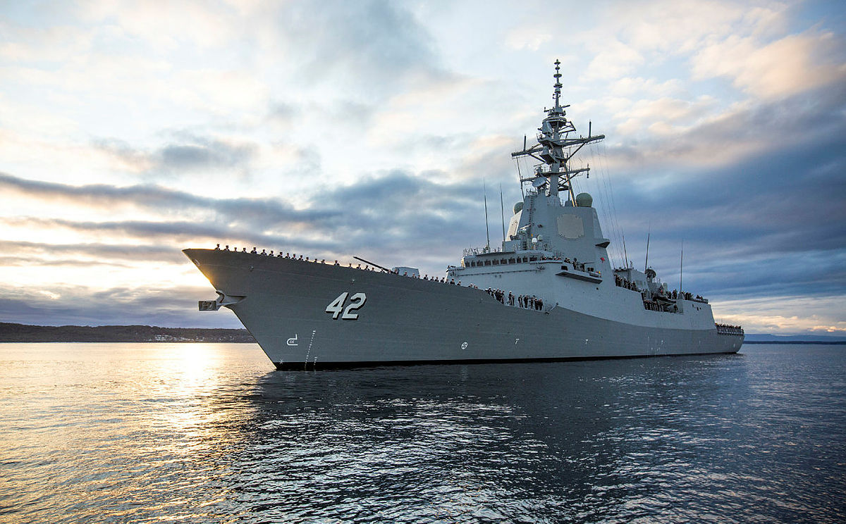Royal Australian Navy HMAS Sydney Air Warfare Destroyer Commissions at Sea