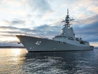 Royal Australian Navy HMAS Sydney Air Warfare Destroyer Commissions at Sea