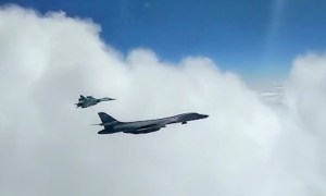 Russia's Sukhoi Fighter Intercept US B-1B Lancer Bomber over Black and Baltic Seas