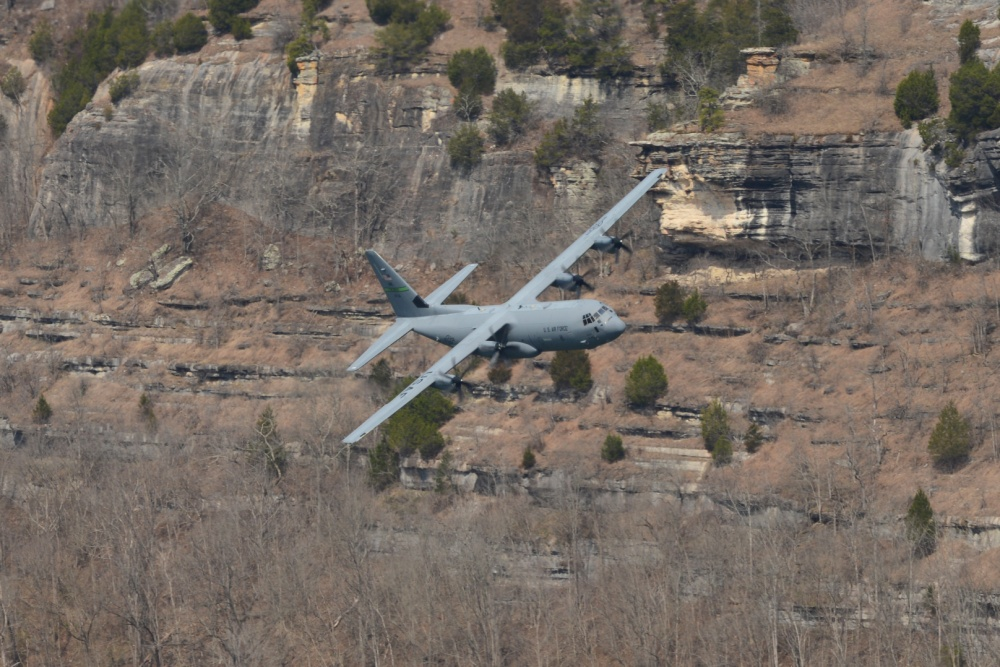 US Air Force Reserve Unit Launches C-130J Four-Ship Formation