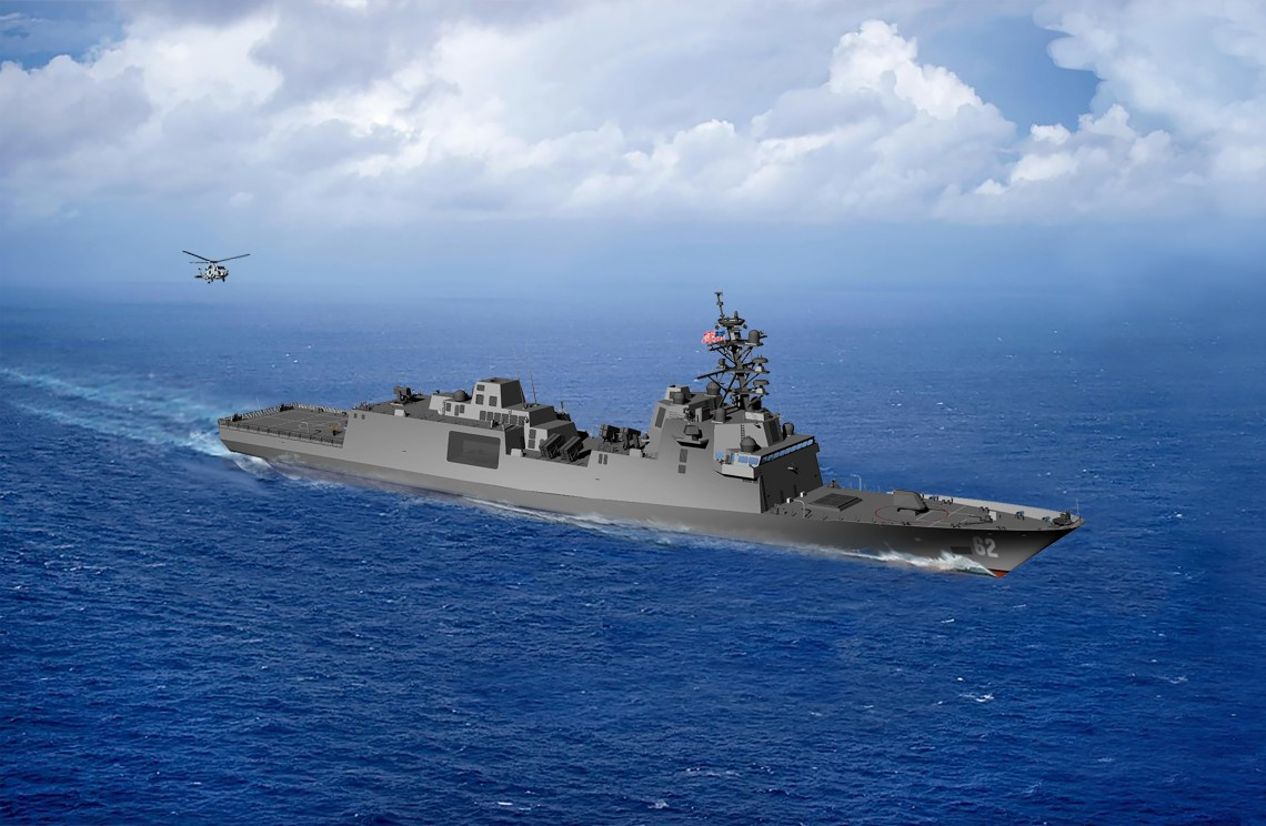 An artist rendering of the guided-missile frigate FFG(X). The new small surface combatant will have multi-mission capability to conduct air warfare, anti-submarine warfare, surface warfare, electronic warfare, and information operations. (U.S. Navy graphic/Released)