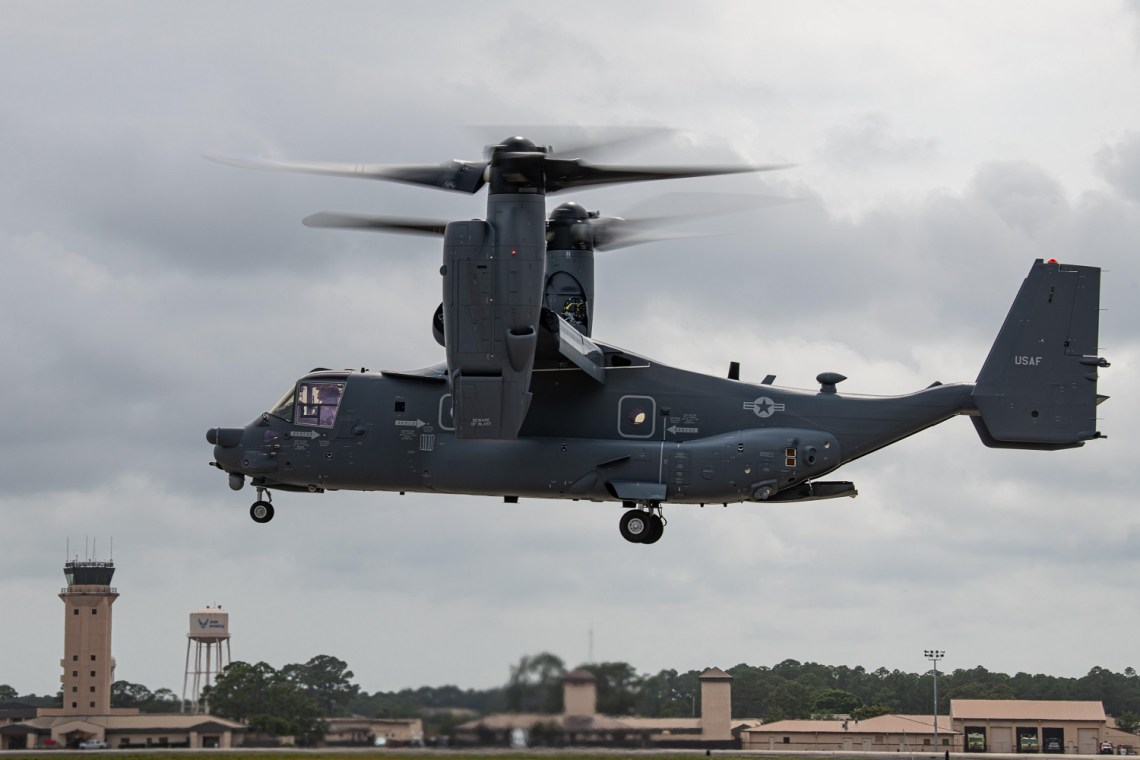 Air Commandos with the 801st Special Operations Aircraft Maintenance Squadron accept delivery of a new CV-22B Osprey tiltrotor aircraft at Hurlburt Field, Florida, Jun. 2, 2020. The 801st SOAMXS helps keep Ospreys ready to execute infiltration, exfiltration, and resupply missions worldwide. (U.S. Air Force photo by Airman 1st Class Nathan LeVang)