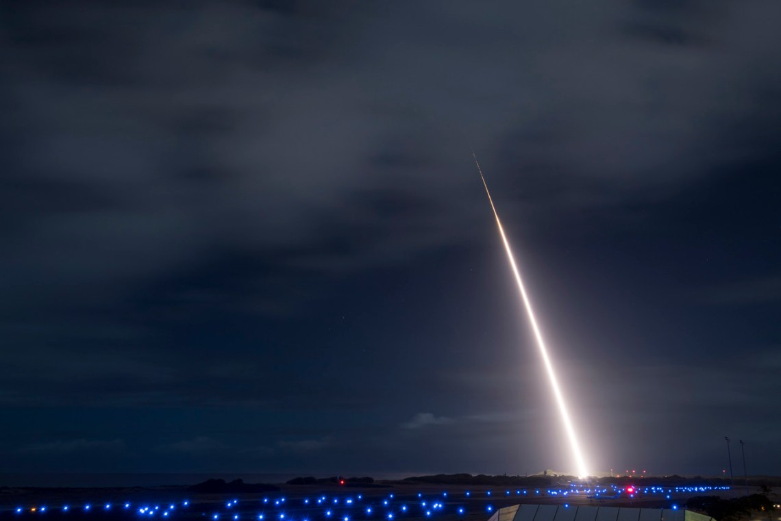 A target missile launches from the Pacific Missile Range Facility in Kauai, Hawaii during Flight Test Standard Missile-45, Oct. 26, 2018.