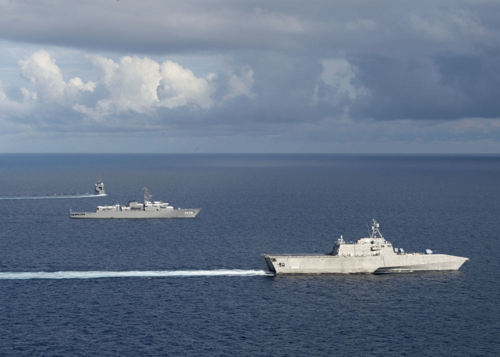 US Navy and Japan Maritime Self-Defense Force Exercise Together in South China Sea
