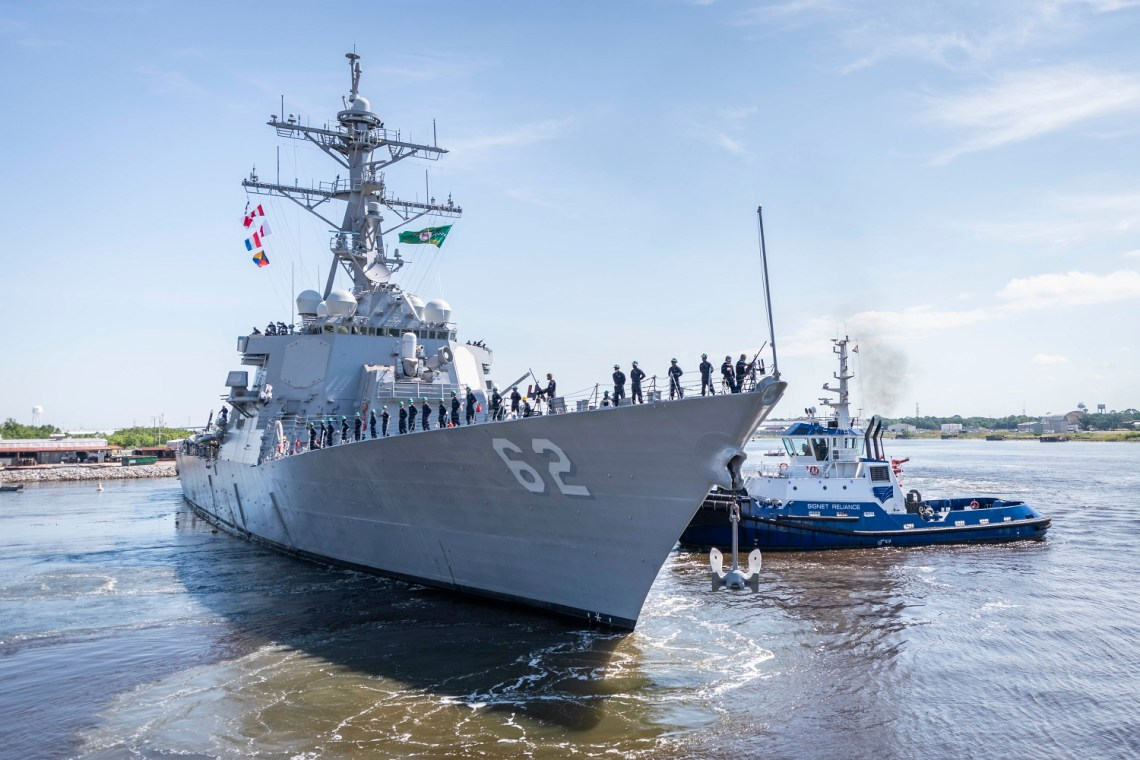 The guided-missile destroyer USS Fitzgerald (DDG 62) prepares to depart Huntington Ingalls Industries, Ingalls Shipbuilding division's Pascagoula shipyard June 13 to return to her homeport in San Diego. The sail away reflects more than two years' worth of effort in restoring and modernizing one of the Navy's most capable warships after it was damaged during a collision in 2017 that claimed the lives of seven Sailors. (U.S. Navy photo courtesy of Derek Fountain/Huntington Ingalls Industries /Released)