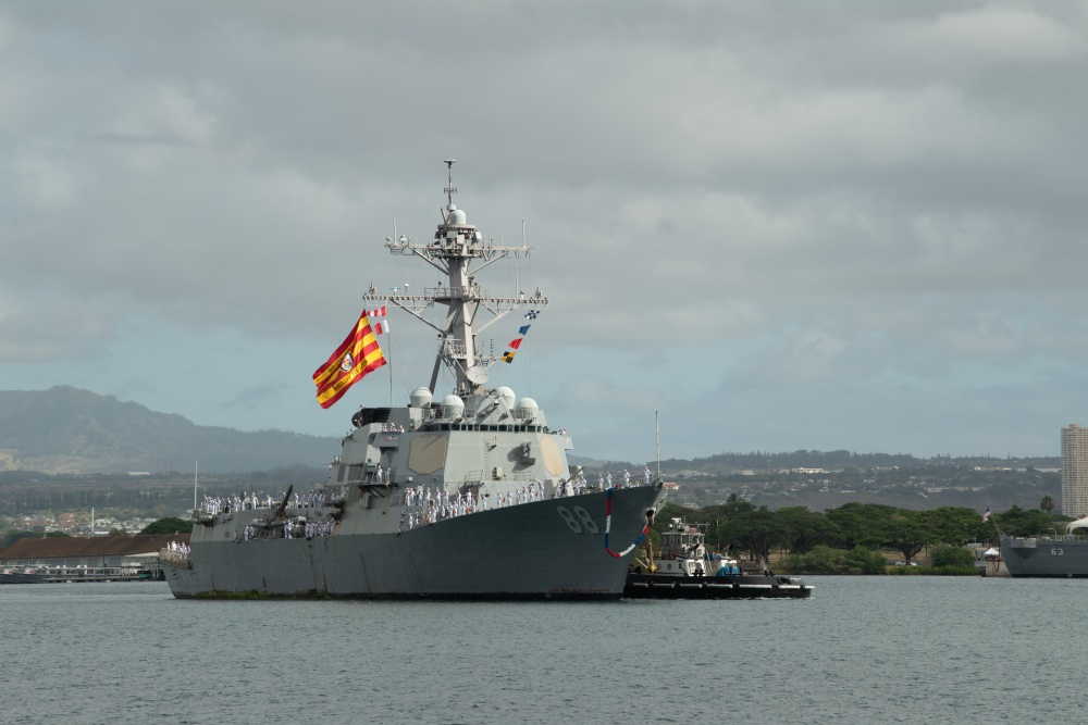 US Navy USS Preble Returns After Successful Counter-Narcotics Deployment