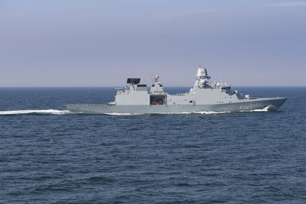 The Danish Iver Huitfeldt-class frigate HMDS Niels Juel (F 363) transits the Danish Straits (U.S. Navy photo by Mass Communication Specialist 3rd Class Ford Williams/Released)