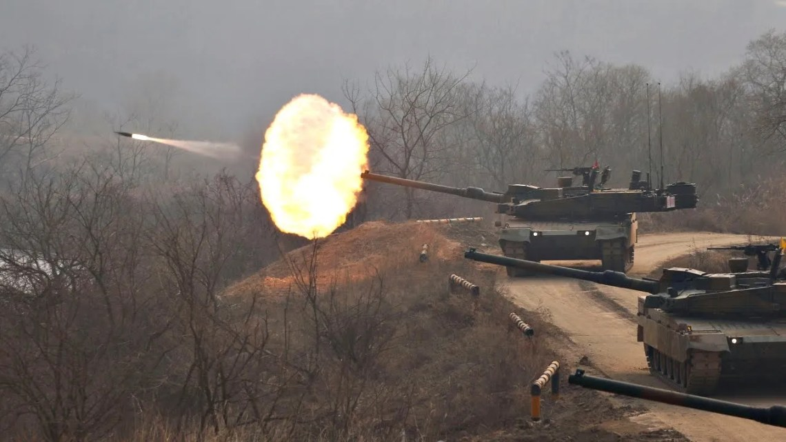 K2 Black Panther main battle tanks of the Republic of Korea Army participating in various training exercises.
