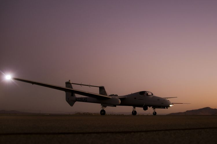Northrop Grumman Firebird aircraft taxis ahead of night demonstration flight.