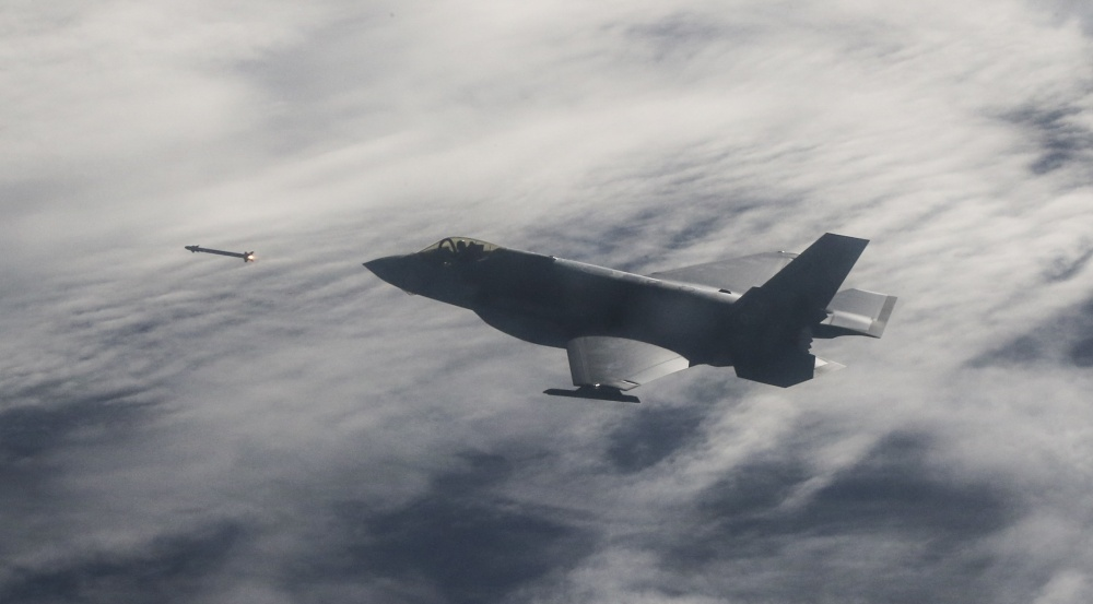 F-35A Lightning II test aircraft assigned to the 31st Test Evaluation Squadron from Edwards Air Force Base, California, released AIM-120 AMRAAM and AIM-9X missiles at QF-16 targets during a live-fire test over an Air Force range in the Gulf of Mexico