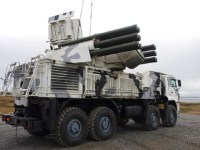 Russian Pantsir S1 Anti-Air-Vehicles Train in Arctic