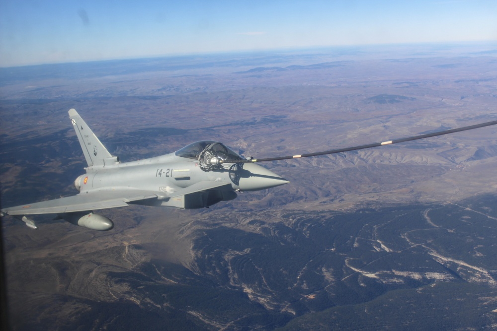 A Spanish Air Force Eurofighter Typhoon with the 11th Wing receives fuel from a U.S. Marine Corps KC-130J.