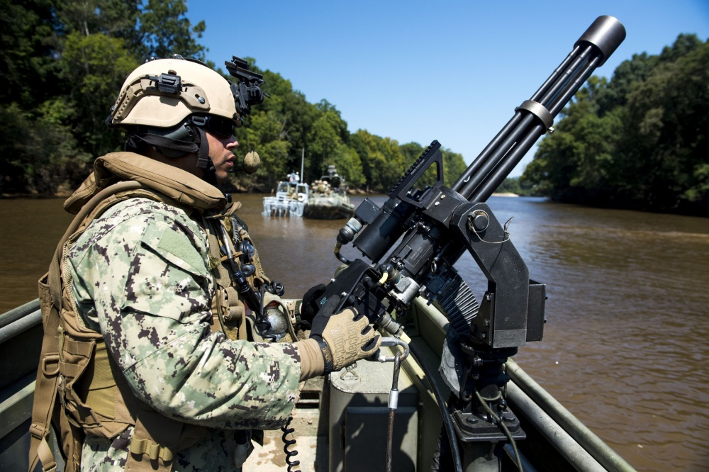 M134 7.62x51mm 6-barrel rotary Gatling gun aboard a Riverine Patrol Boat
