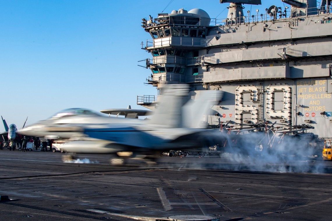 US Navy Eisenhower Strike Group Conducts Strike Training in U.S. 6th Fleet