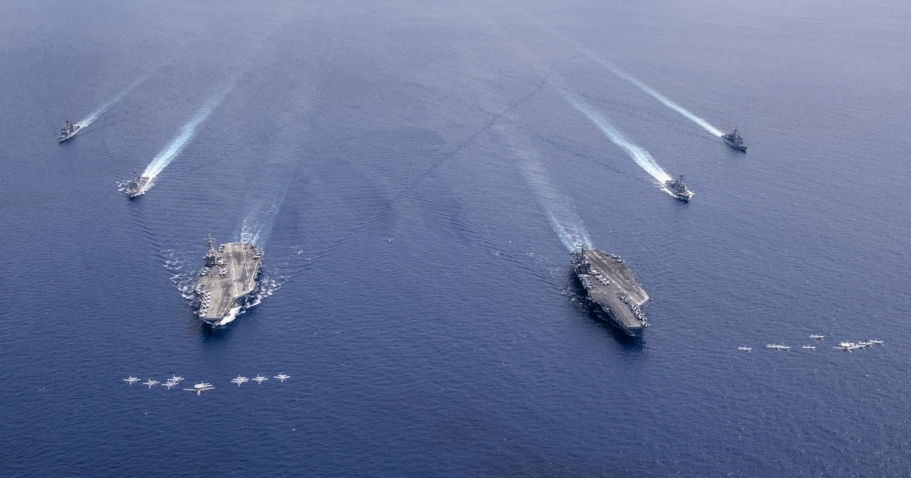 The USS Nimitz (CVN 68) and USS Ronald Reagan (CVN 76) Carrier Strike Groups are conducting dual carrier operations in the Indo-Pacific as the Nimitz CSF.