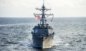 The guided missile destroyer USS McCampbell (DDG 85) transits the Pacific Ocean