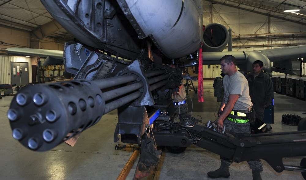 U.S. Airmen from the 354th Aircraft Maintenance Unit remove a GAU-8 Avenger 30 mm cannon from an A-10C Thunderbolt II at Davis-Monthan Air Force Base, Ariz., Jan. 8, 2018. The A-10's cannon is inspected and cleaned once every 36 months or every 25,000 rounds fired.