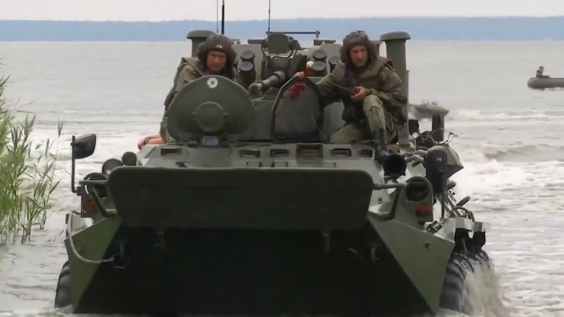 Baltic Fleet Naval Infantry BTR-82 APCs Conducts Amphibious Landing Exercises