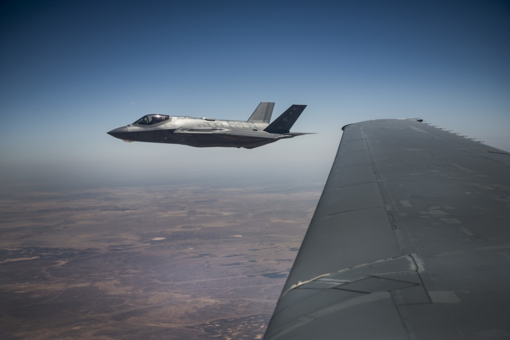 "A U.S. Air Force 421st Fighter Squadron F-35A Lightning II flies next to a 908th Expeditionary Refueling Squadron KC-10 Extender here after refueling during ""Enduring Lightning II"" exercise over Israel Aug. 2, 2020."