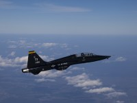 A T-38 Talon with the 2nd Fighter Training Squadron, Tyndall Air Force Base, Fla., begins to climb in altitude en route to a training range over the Gulf of Mexico