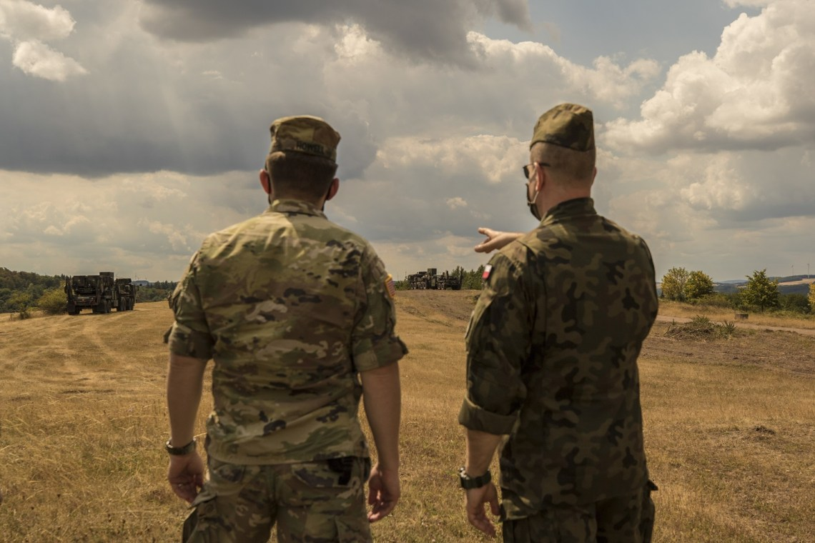 A Polish delegation, assigned to the 37th Air Defense Squadron, visits with U.S. Soldiers assigned to the 10th Army Air and Missile Defense Command on August 4, 2020 in Baumholder, Germany.