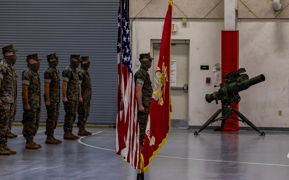 Marines with Detachment 4, 4th Tank Battalion, 4th Marine Division take part in a ceremony commemorating their deactivation at Lafayette, La.