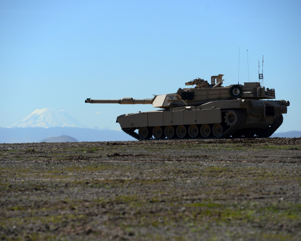 M1A1 Abrams tank of Bravo Company, 4th Tank Battalion, 4th Marine Division, USMC Reserves, preparing for a live fire exercise at Yakima Training Center, Joint Base Lewis-McChord.