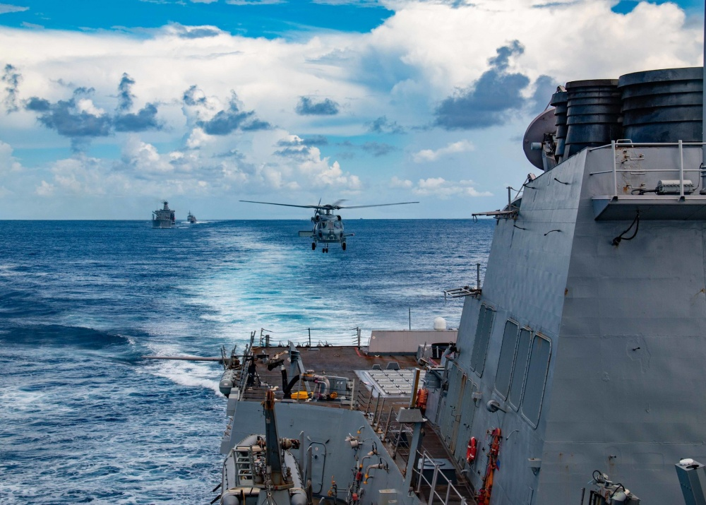 Spartan helicopter of HSM-70 (helicopter maritime strike squadron) comes in for a landing aboard USS Winston S. Churchill (DDG 81) after a crew served weapon system exercise. Churchill is conducting integrated training in the Atlantic Ocean