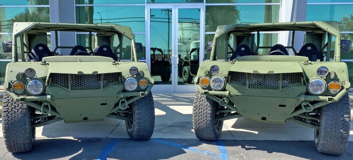 Two Flyer A-GMVs built at Flyer Defense headquarters in Los Angeles
