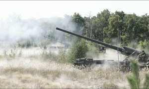 2S7 Malka or Pion self-propelled 203mm heavy artillery.