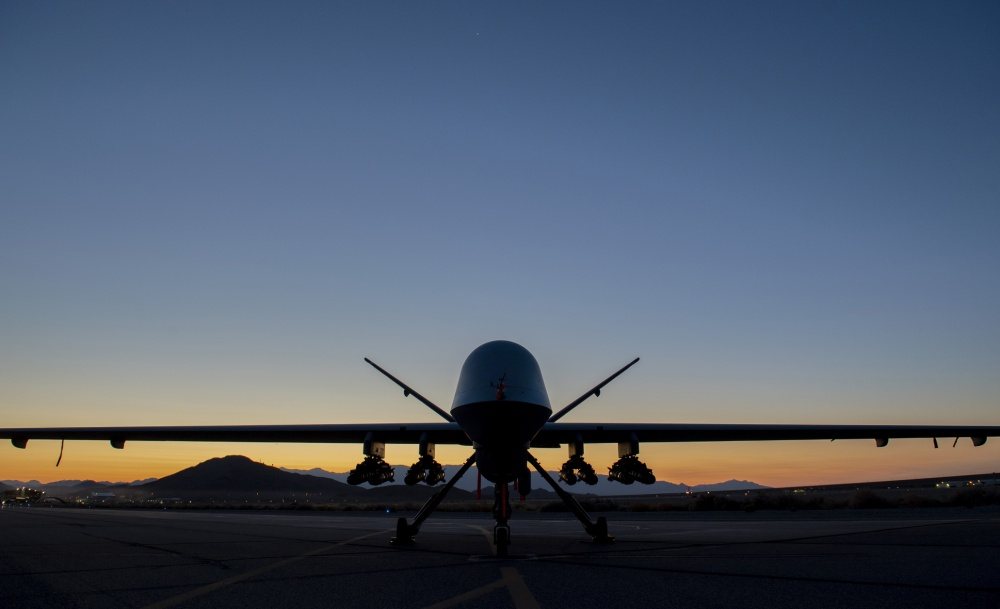 An MQ-9A Reaper assigned to the 556th Test and Evaluation Squadron sits on the ramp at Creech Air Force Base carrying eight Hellfire missiles. This was the first flight test of the MQ-9 carrying eight Hellfire missiles. (U.S. Air Force photo by SrA Haley Stevens).