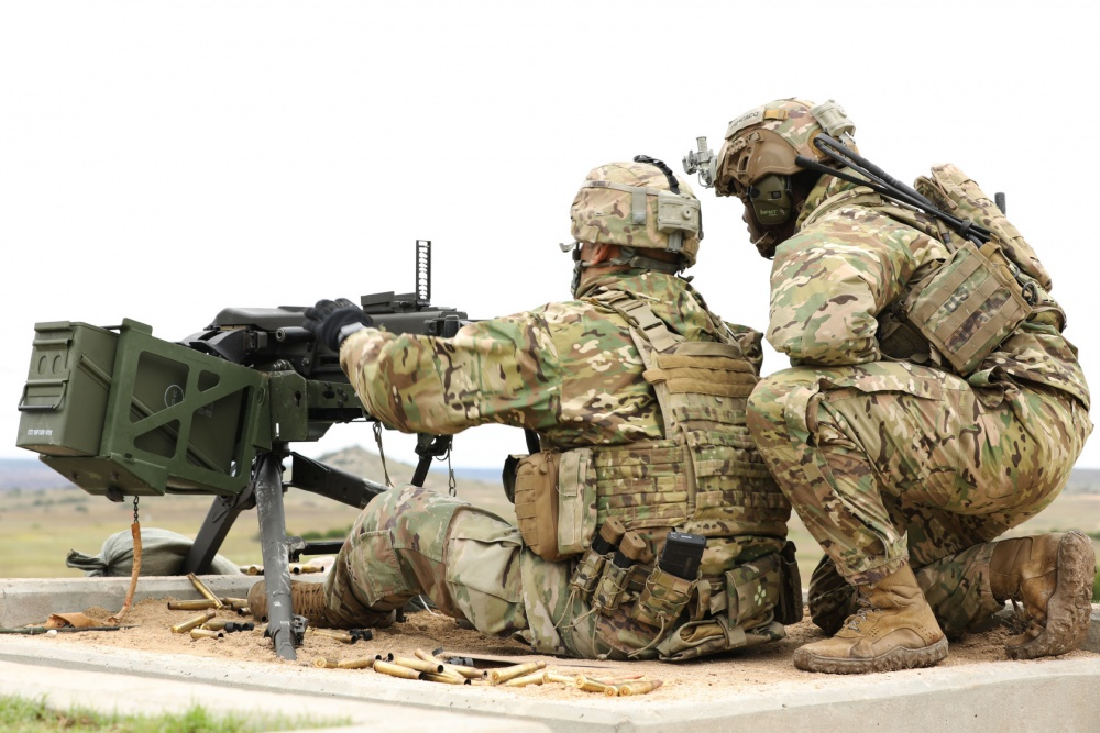 Soldiers from 3rd Security Force Assistance Brigade prepare to fire a Mark 19 40 mm grenade machine gun during a qualification range at Fort Hood Sept. 10, 2020. SFAB Troops, who recently returned from a deployment in Afghanistan, were there to zero and qualify with both Mark 19 and the M2 .50 caliber machine gun systems in order to hone their weapons skills and build the necessary confidence to advise and assist allied and partnered nations across the globe.