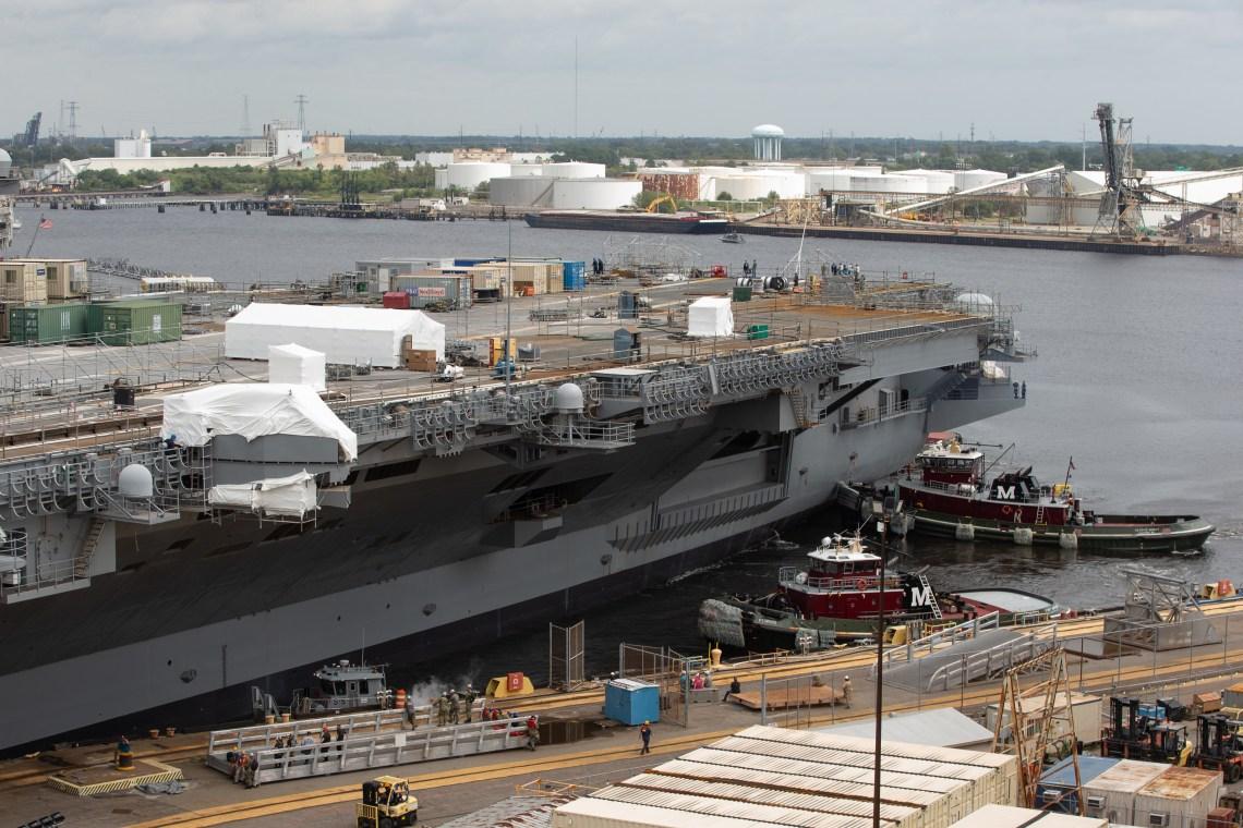 Norfolk Naval Shipyard (NNSY) undocked USS George H.W. Bush (CVN 77) on time Aug. 29, a key milestone in the carrier's Drydocking Planned Incremental Availability (DPIA).