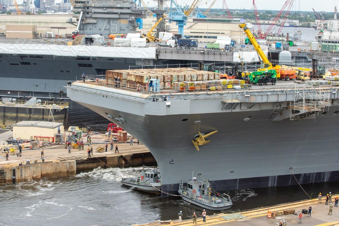 US Navy USS George H.W. Bush Undocked on Time