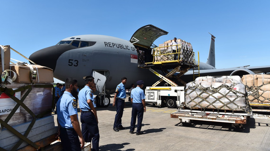 The KC-135R airlifted humanitarian supplies to Bangladesh to provide relief to the displaced persons affected by the humanitarian crisis in Rakhine State.