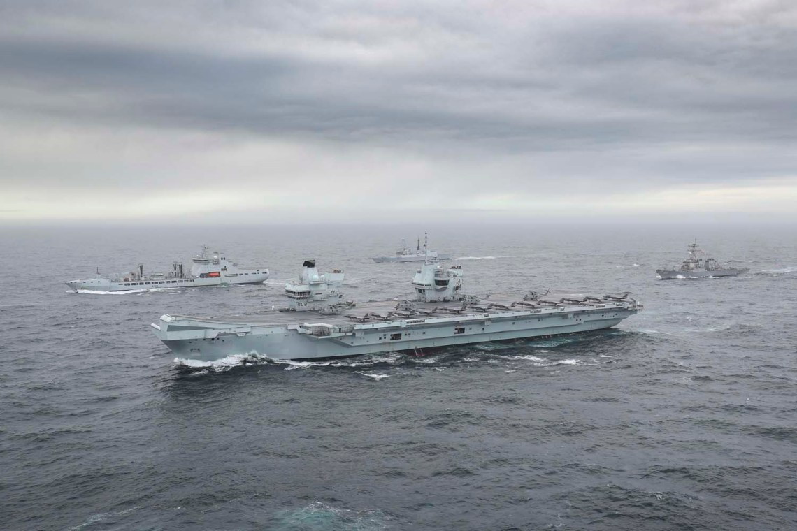 Royal Navy Carrier Strike Group Assembles for the First Time