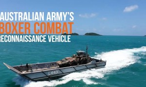 Australian Army's Boxer Combat Reconnaissance Vehicle Takes on the Beach