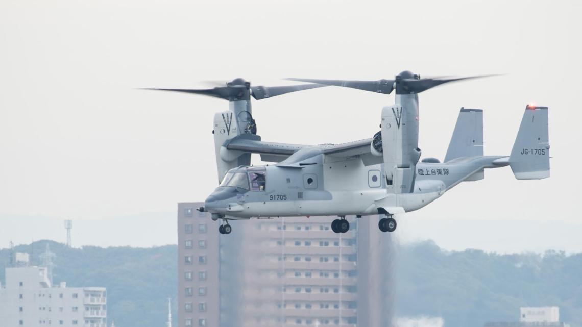 A Japanese Self-Defense Forces V-22 Osprey begins flight operations at Kisarazu Air Field Nov. 6. Photo courtesy of Japan Ground Self Defense Force (JGSDF).