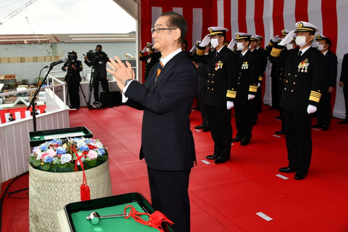 Japanese Shipbuilder Mitsui E&S Launches First 30FFM Multi-Mission Frigate JS Kumano