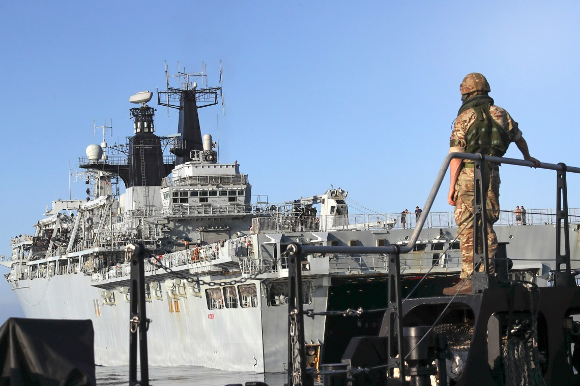 3 of HMS Albion's large LCU landing craft utility in line formation